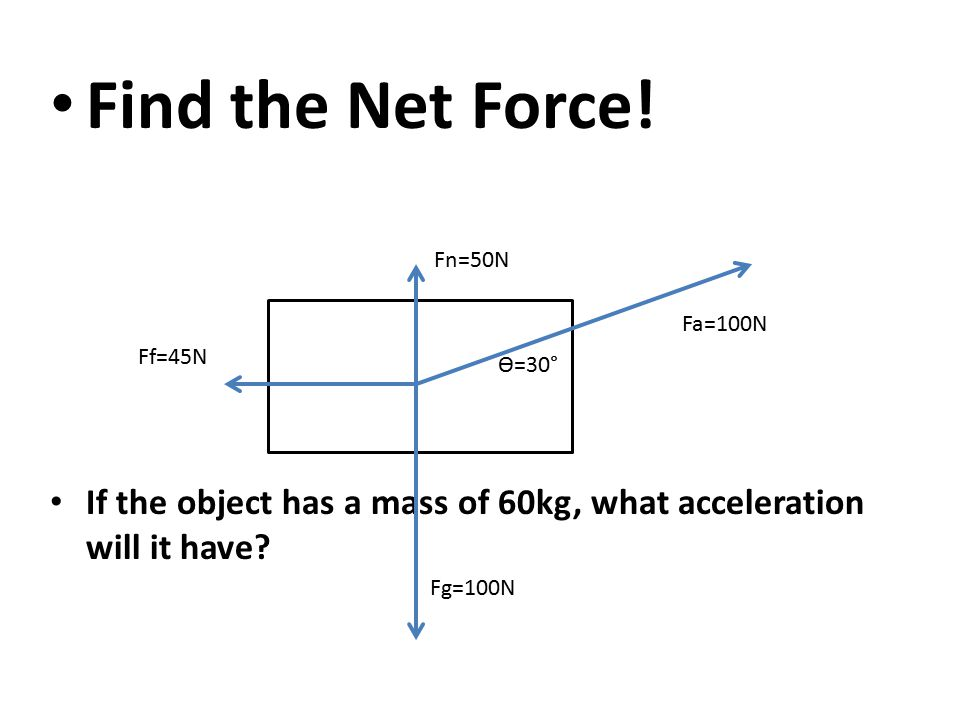 Find the Net Force! If the object has a mass of 60kg, what acceleration will it have Fn=50N. Fa=100N.