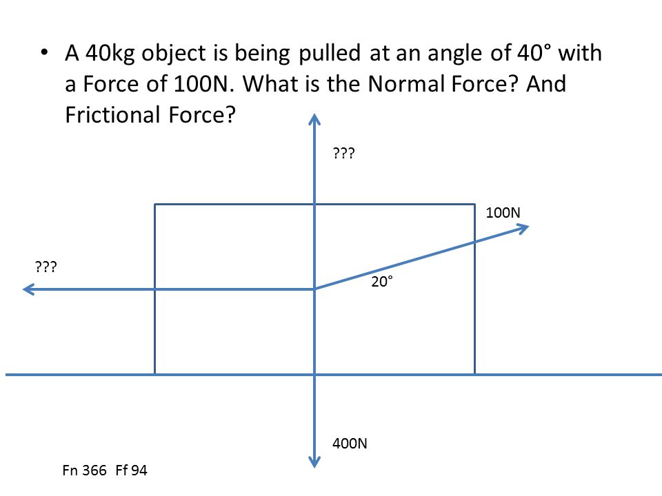 A 40kg object is being pulled at an angle of 40° with a Force of 100N