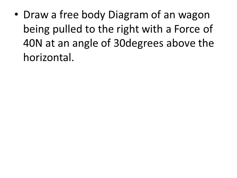 Draw a free body Diagram of an wagon being pulled to the right with a Force of 40N at an angle of 30degrees above the horizontal.