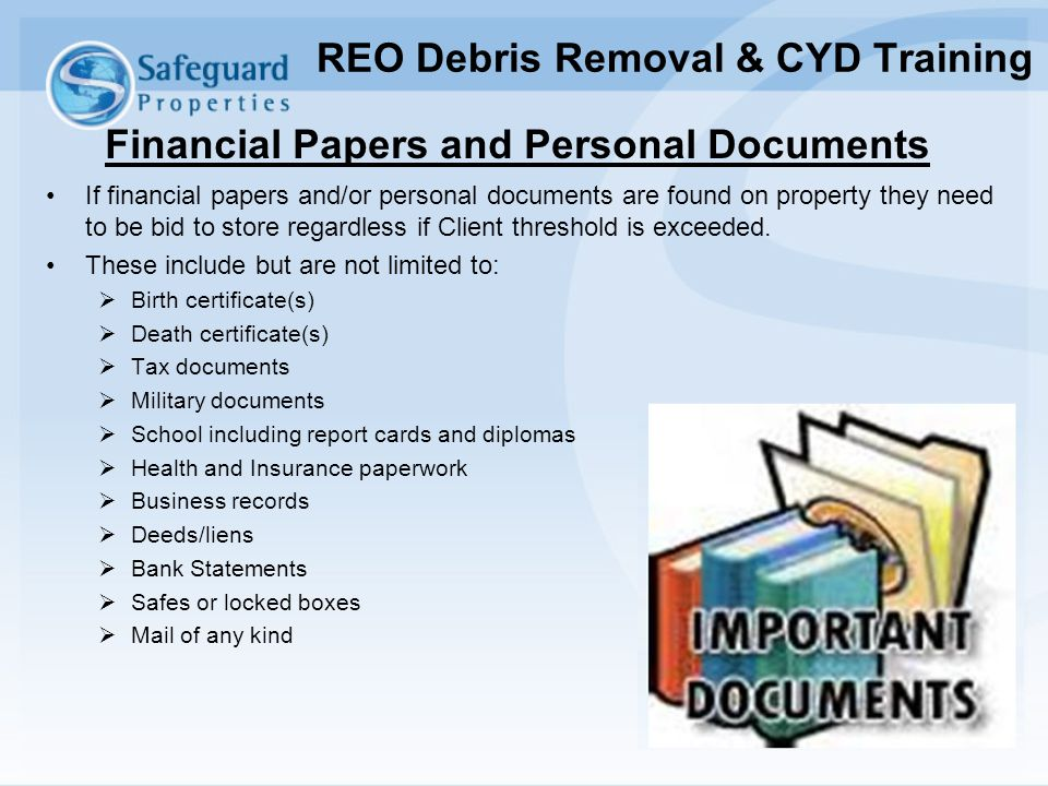 REO Debris Removal & CYD Training