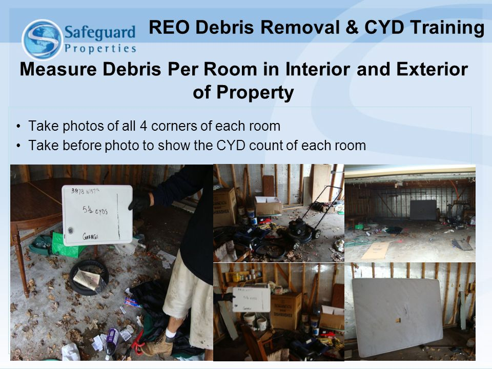 Measure Debris Per Room in Interior and Exterior of Property