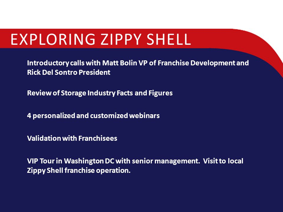 Exploring Zippy Shell Introductory calls with Matt Bolin VP of Franchise Development and Rick Del Sontro President