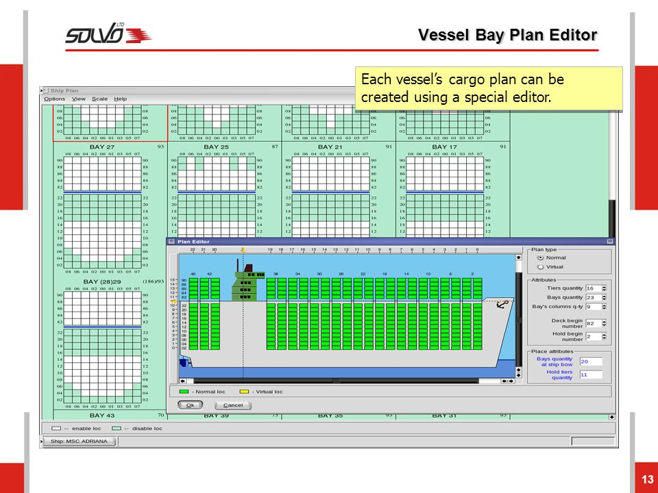 Vessel Bay Plan Editor Each vessel's cargo plan can be created using a special editor.