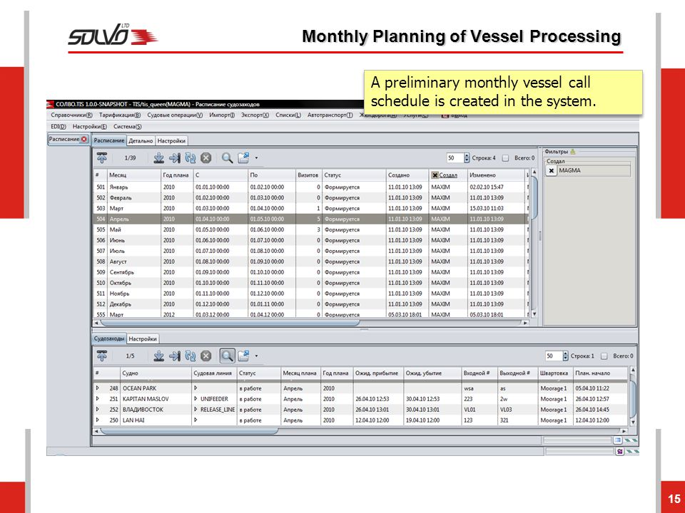 Monthly Planning of Vessel Processing