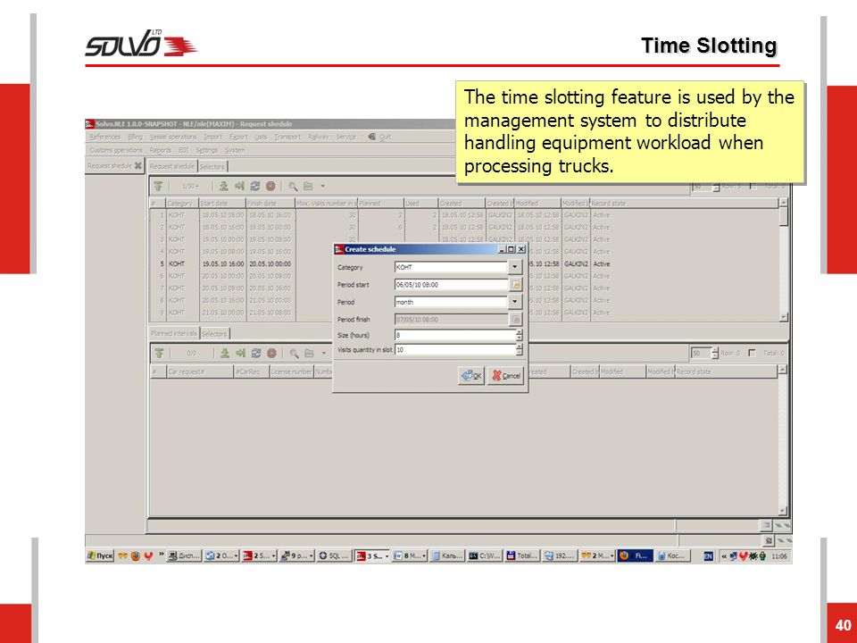 Time Slotting The time slotting feature is used by the management system to distribute handling equipment workload when processing trucks.