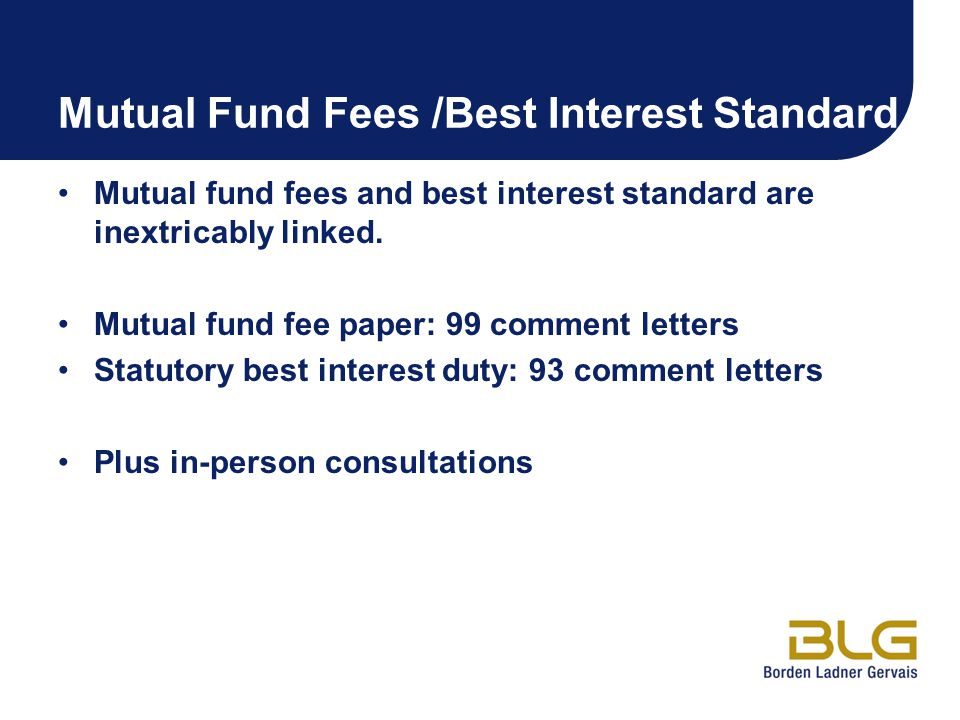 Mutual Fund Fees /Best Interest Standard