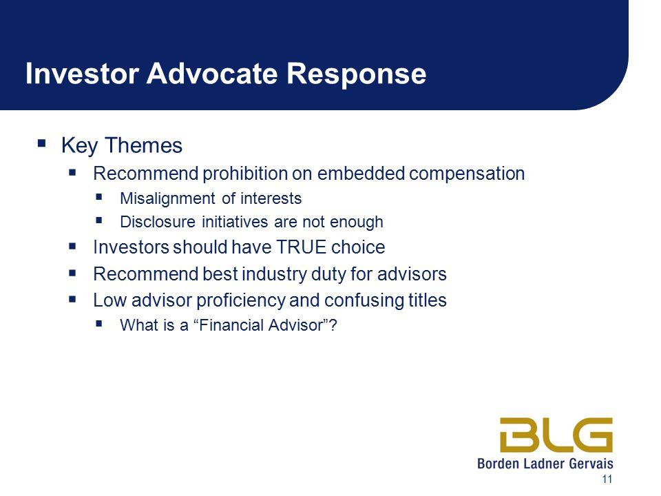 Investor Advocate Response