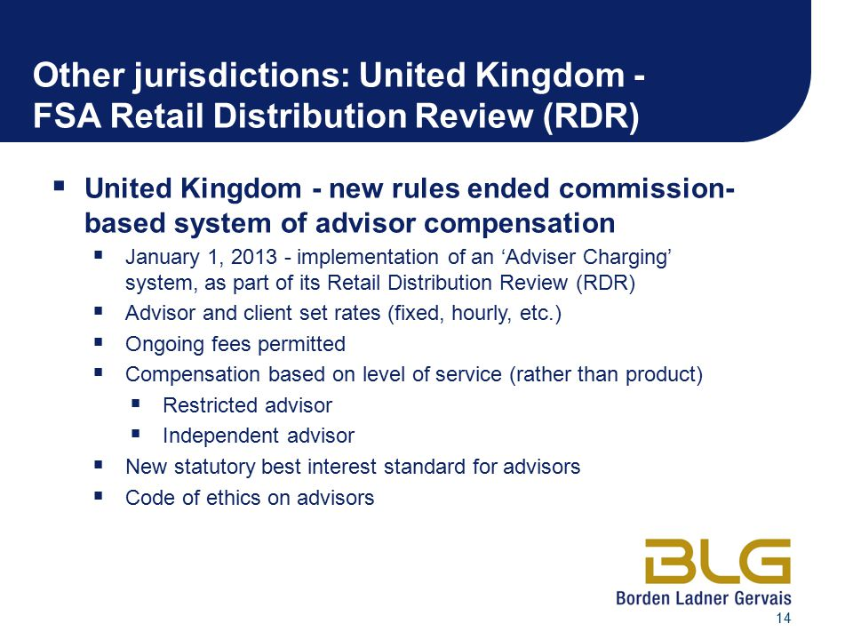 Other jurisdictions: United Kingdom - FSA Retail Distribution Review (RDR)