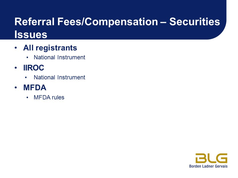 Referral Fees/Compensation – Securities Issues