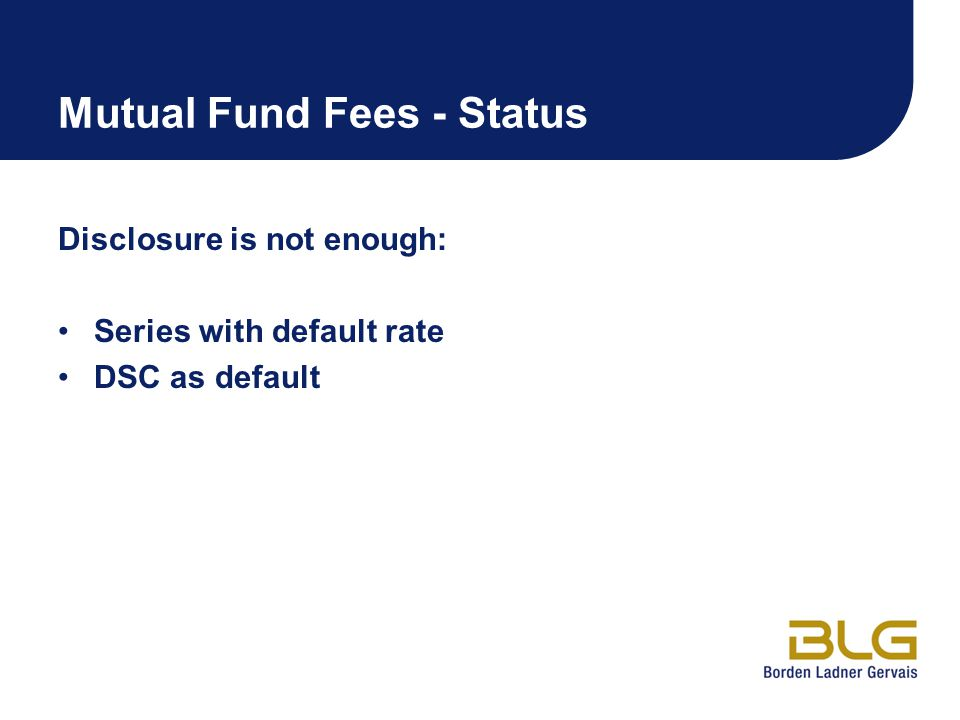 Mutual Fund Fees - Status