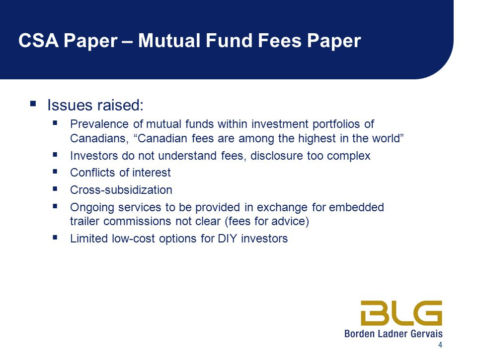CSA Paper – Mutual Fund Fees Paper