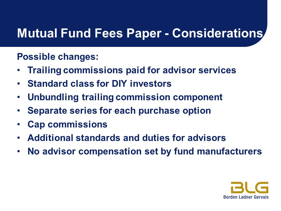 Mutual Fund Fees Paper - Considerations