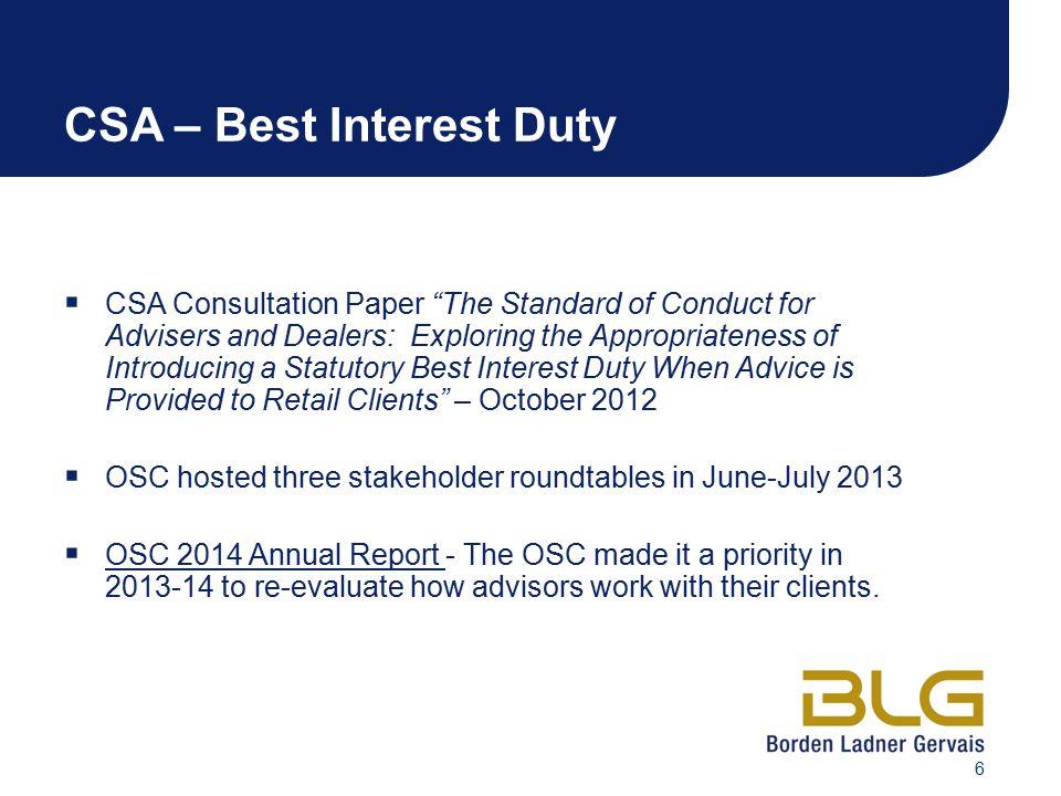 CSA – Best Interest Duty