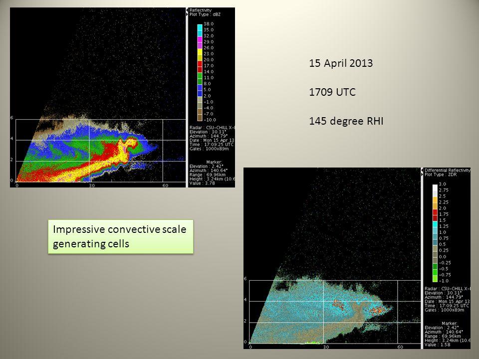 15 April 2013 1709 UTC 145 degree RHI Impressive convective scale generating cells