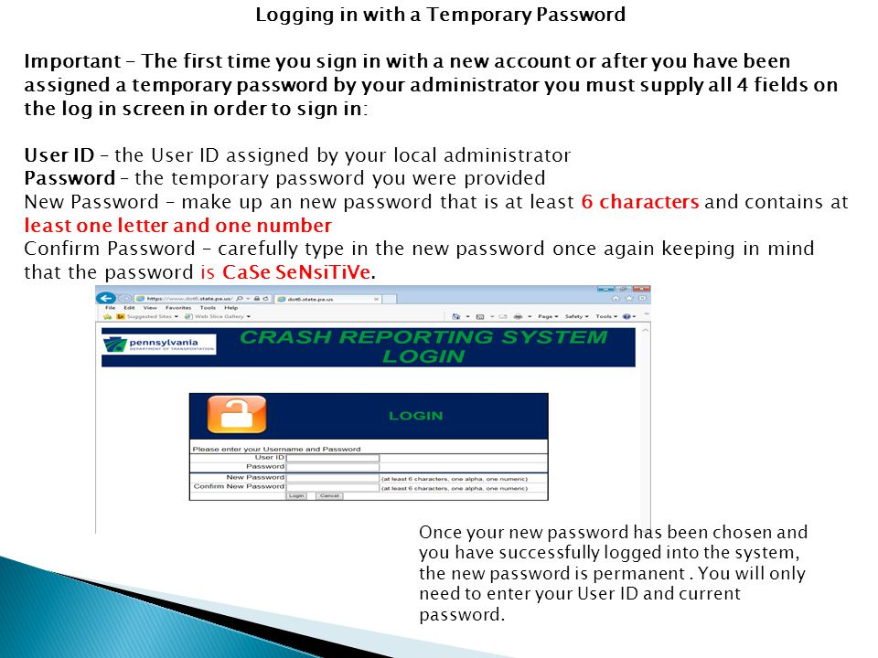 Logging in with a Temporary Password