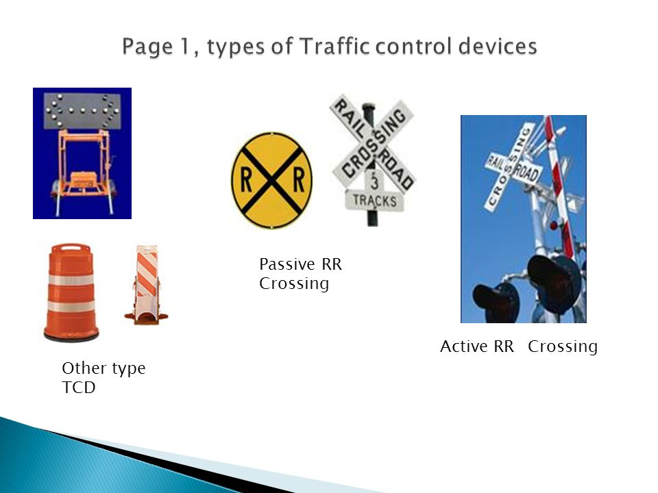 Page 1, types of Traffic control devices
