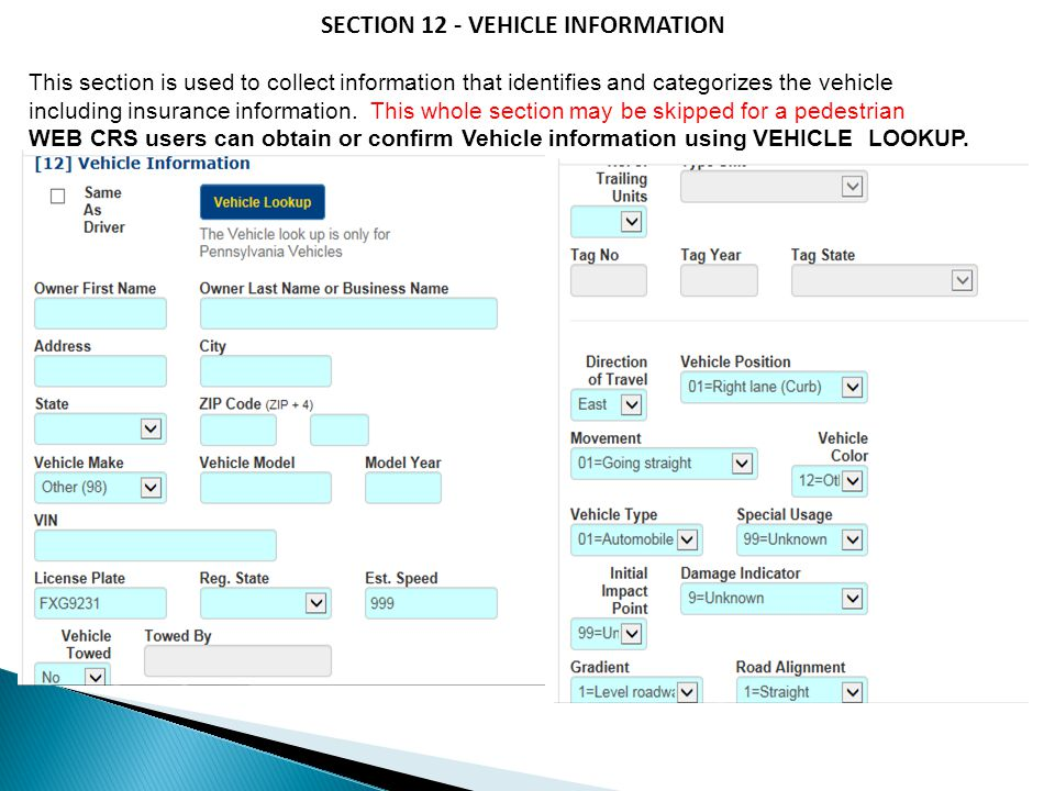 SECTION 12 - VEHICLE INFORMATION