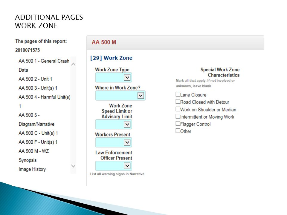 ADDITIONAL PAGES WORK ZONE