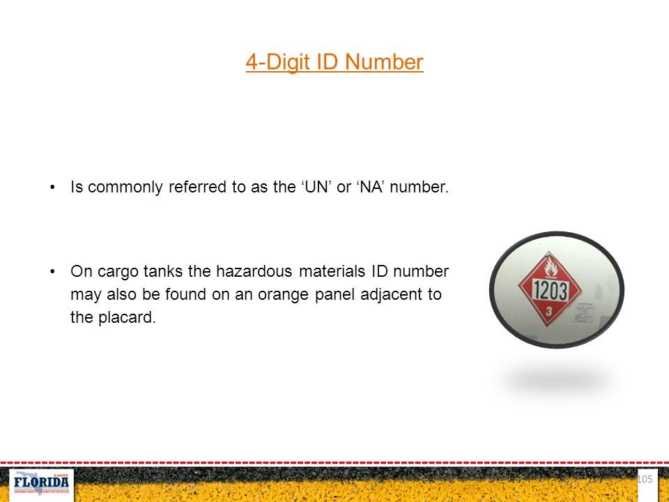 4-Digit ID Number Is commonly referred to as the 'UN' or 'NA' number.
