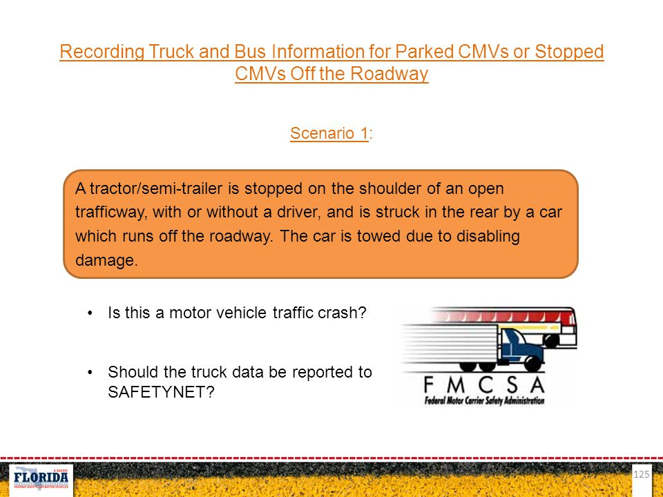 Recording Truck and Bus Information for Parked CMVs or Stopped CMVs Off the Roadway