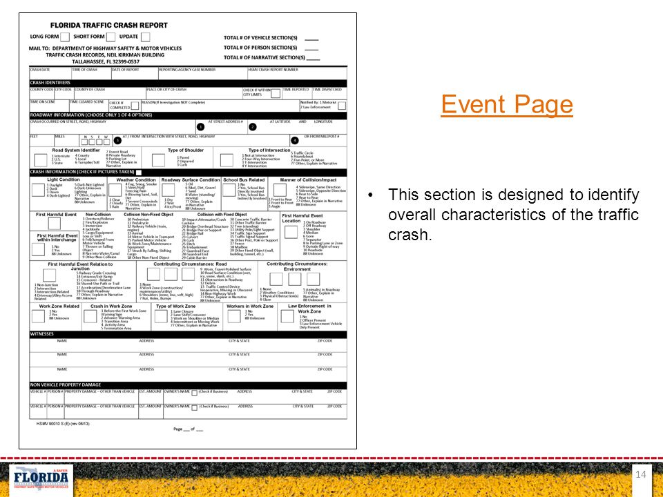 Event Page This section is designed to identify overall characteristics of the traffic crash.