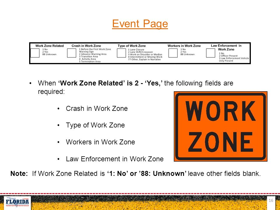 Event Page When 'Work Zone Related' is 2 - 'Yes,' the following fields are required: Crash in Work Zone.