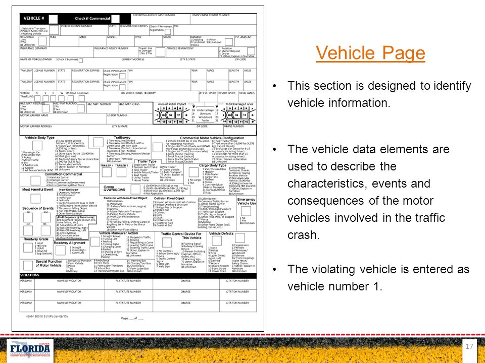Vehicle Page This section is designed to identify vehicle information.