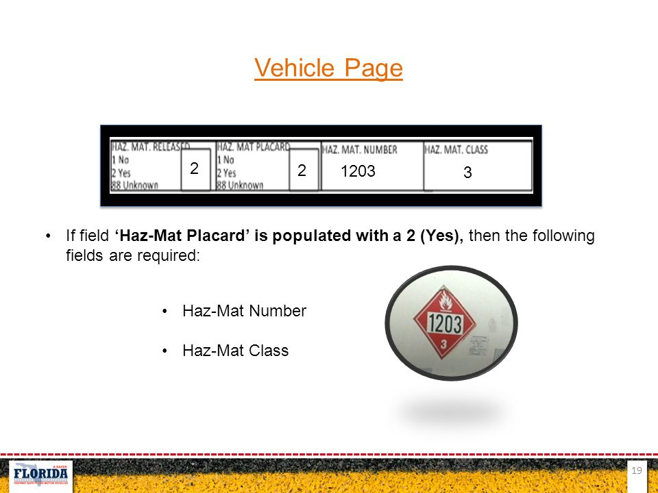Vehicle Page 2. 2. 1203. 3. If field 'Haz-Mat Placard' is populated with a 2 (Yes), then the following fields are required: