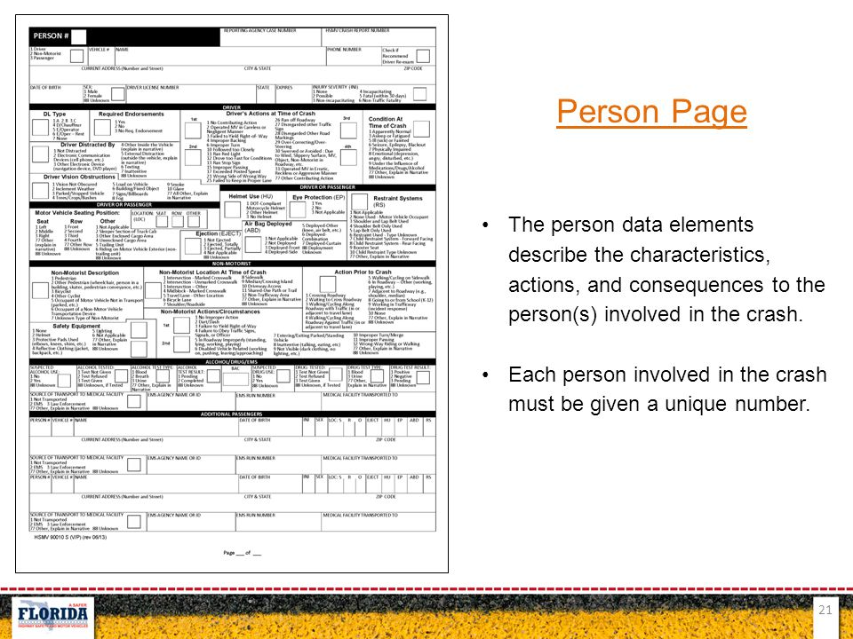 Person Page The person data elements describe the characteristics, actions, and consequences to the person(s) involved in the crash.