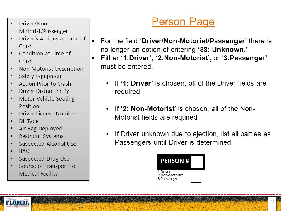 Person Page Driver/Non-Motorist/Passenger. Driver's Actions at Time of Crash. Condition at Time of Crash.