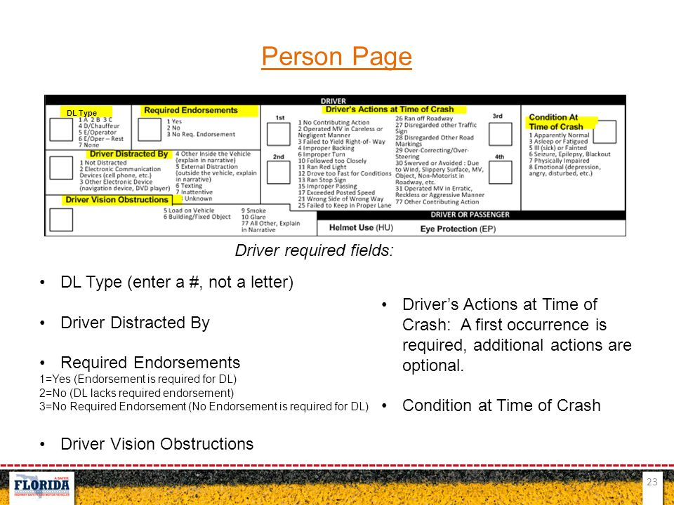Person Page Driver required fields: DL Type (enter a #, not a letter)
