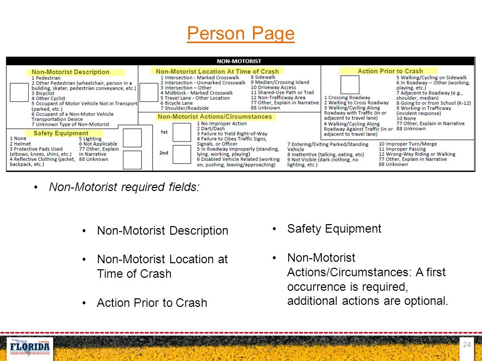 Person Page Non-Motorist required fields: Non-Motorist Description