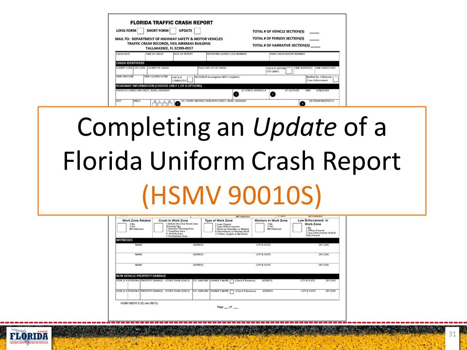 Completing an Update of a Florida Uniform Crash Report