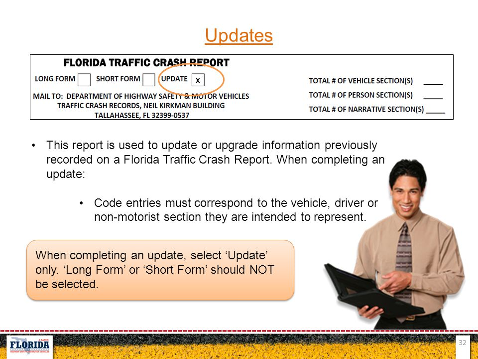 Updates x. This report is used to update or upgrade information previously recorded on a Florida Traffic Crash Report. When completing an update: