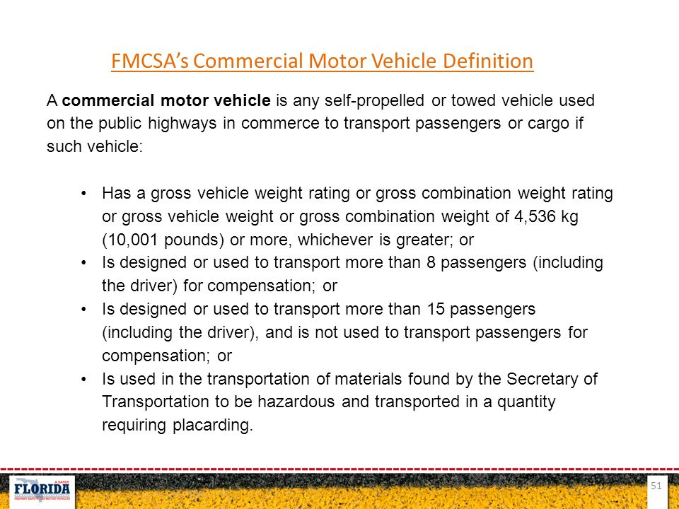 FMCSA's Commercial Motor Vehicle Definition