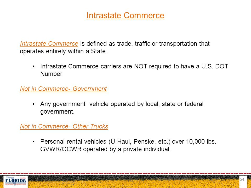 Intrastate Commerce Intrastate Commerce is defined as trade, traffic or transportation that operates entirely within a State.