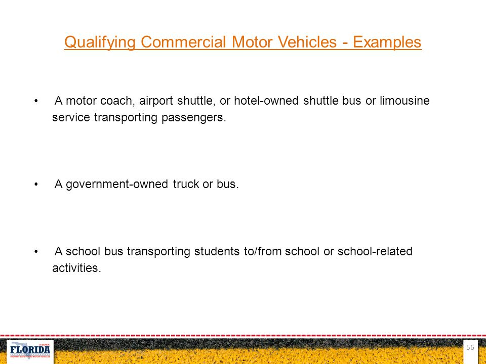Qualifying Commercial Motor Vehicles - Examples