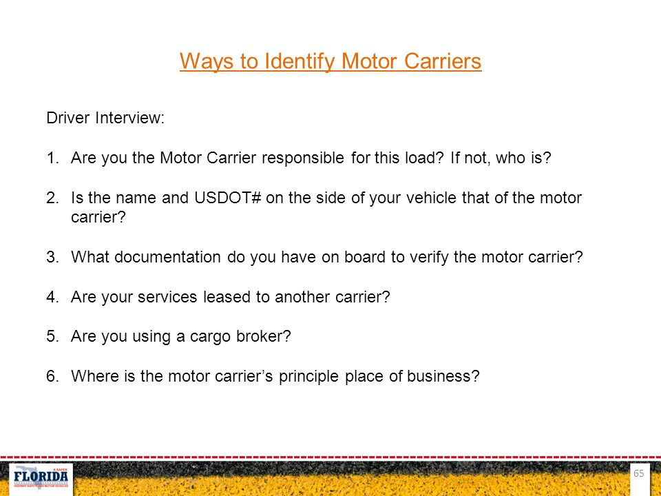 Ways to Identify Motor Carriers