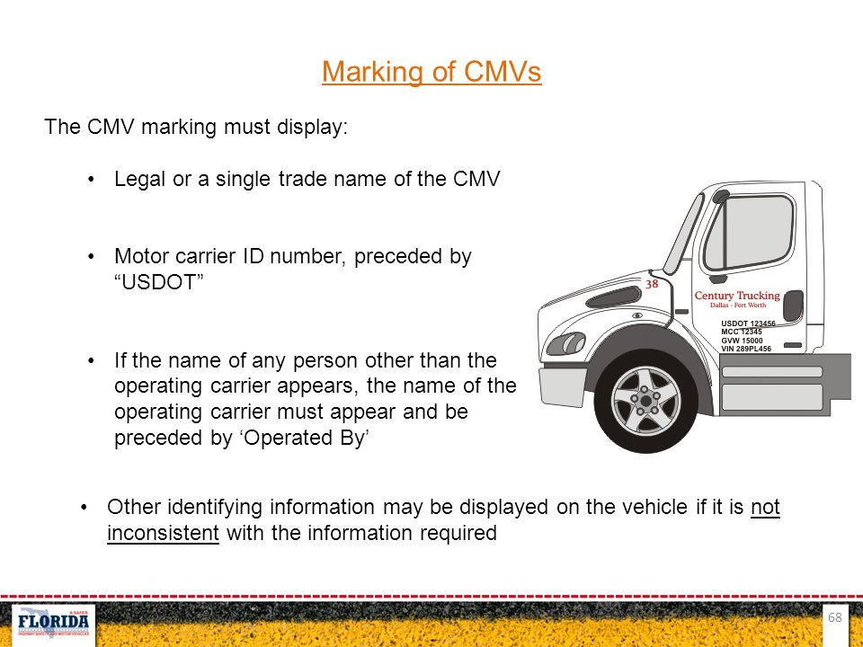 Marking of CMVs The CMV marking must display: