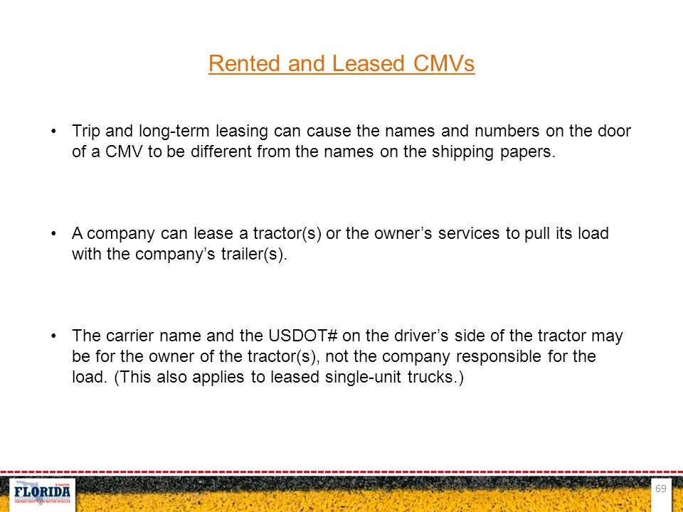 Rented and Leased CMVs