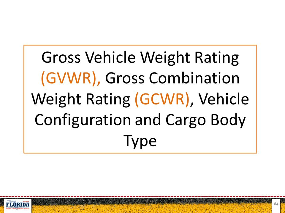 Gross Vehicle Weight Rating (GVWR), Gross Combination Weight Rating (GCWR), Vehicle Configuration and Cargo Body Type