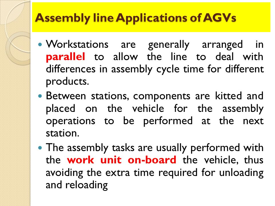 Assembly line Applications of AGVs