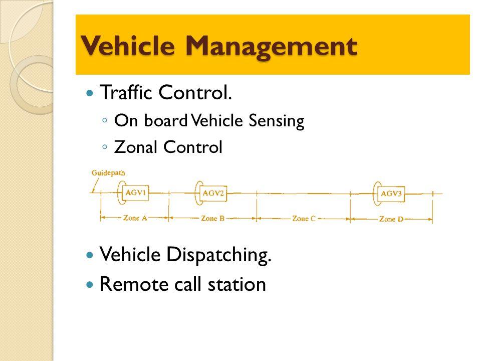 Vehicle Management Traffic Control. Vehicle Dispatching.