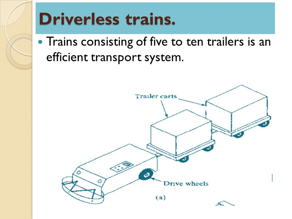 Driverless trains. Trains consisting of five to ten trailers is an efficient transport system.