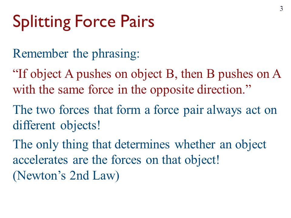 Splitting Force Pairs