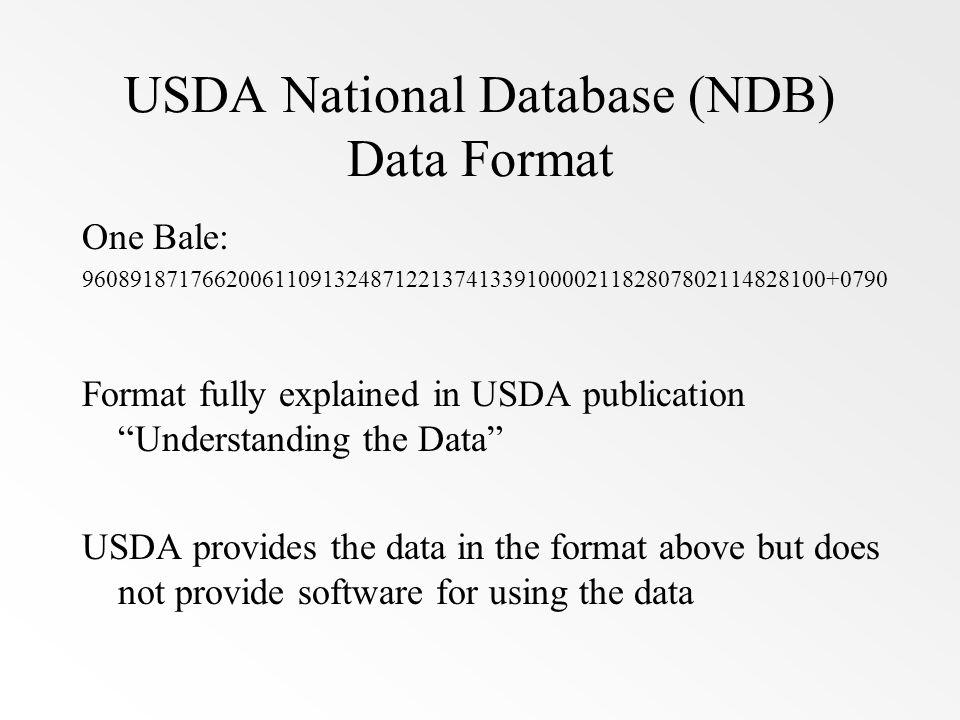 USDA National Database (NDB) Data Format