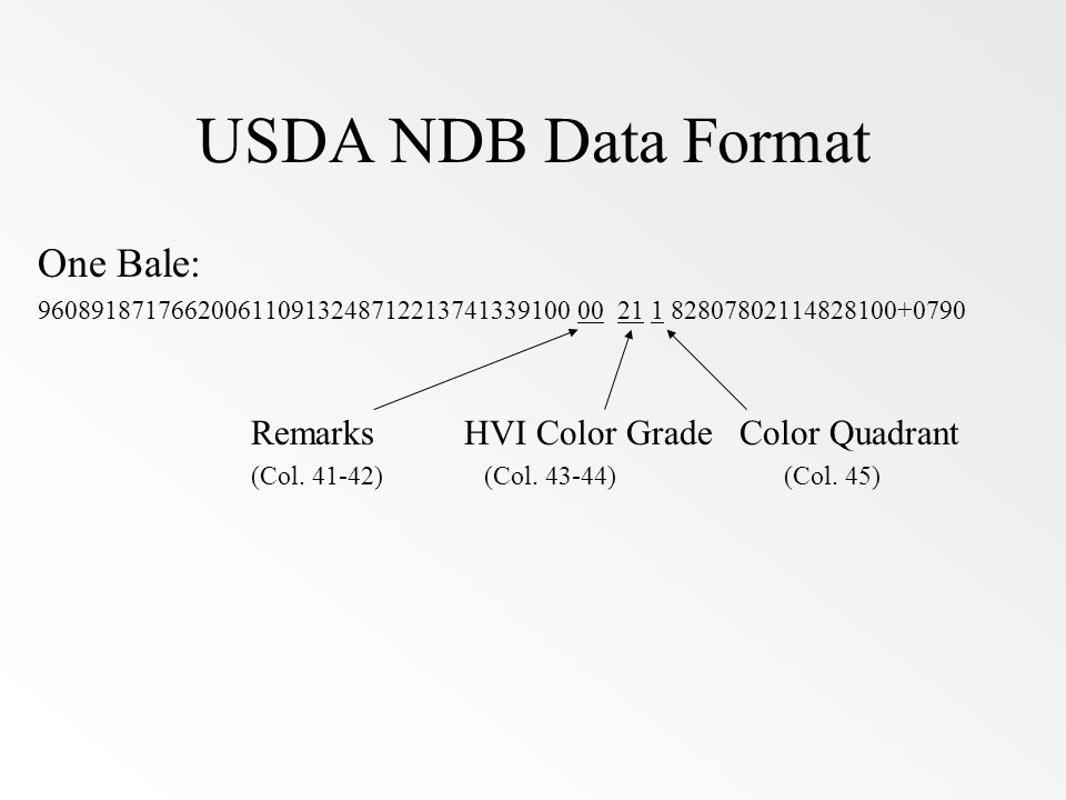 USDA NDB Data Format One Bale: Remarks HVI Color Grade Color Quadrant