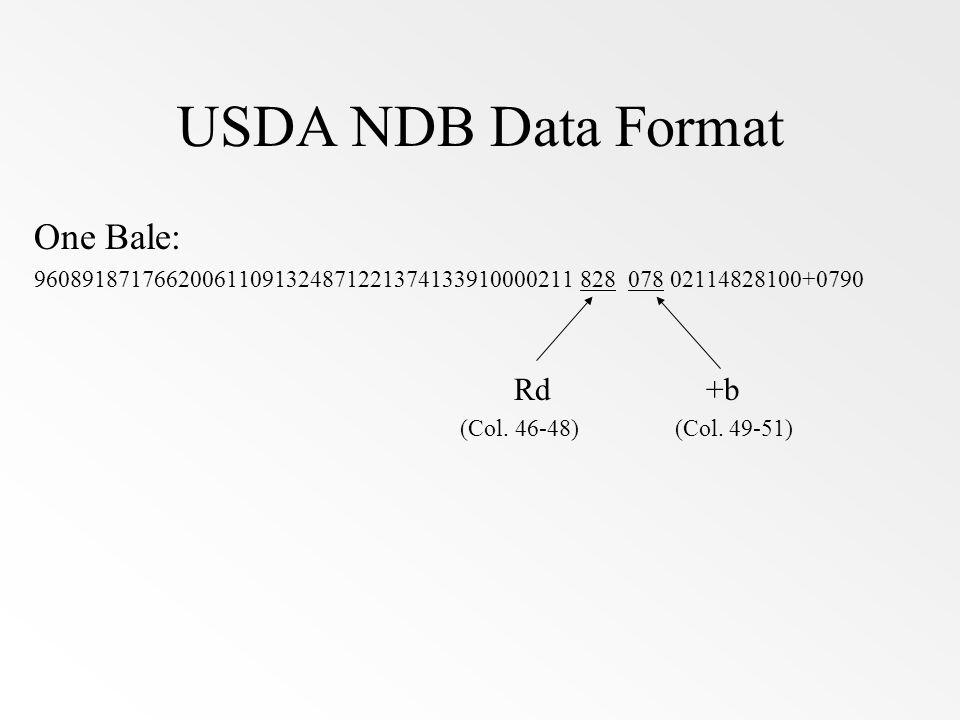 USDA NDB Data Format One Bale: Rd +b
