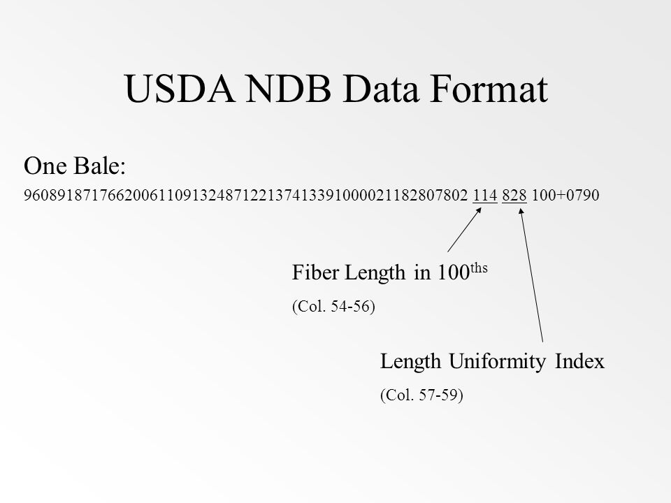 USDA NDB Data Format One Bale: Fiber Length in 100ths (Col. 54-56)