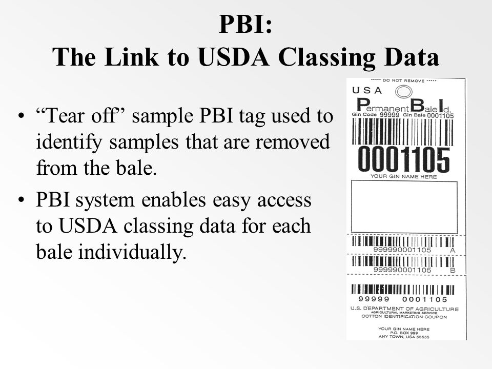 PBI: The Link to USDA Classing Data